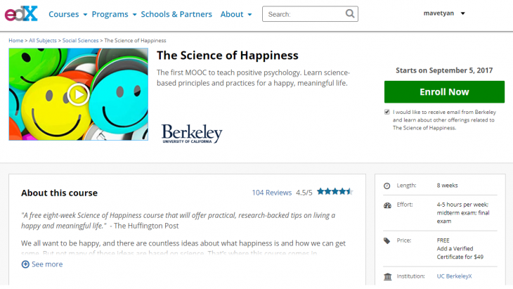 Eight-Week Online Course on Positive Psychology from the UC Berkeley