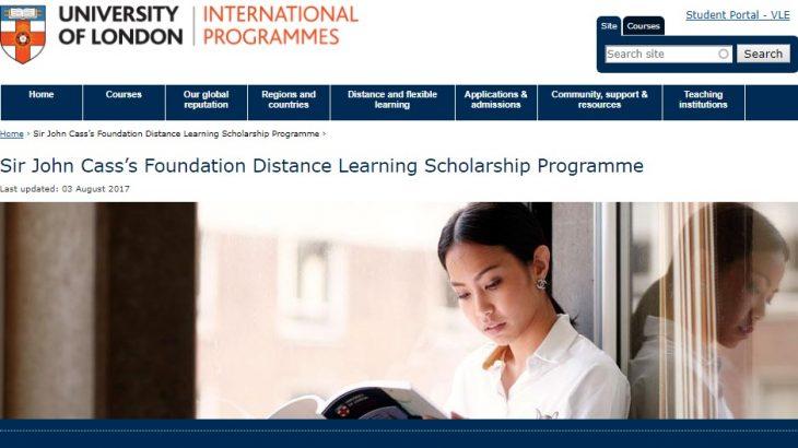 Sir John Cass's Foundation Distance Learning Scholarship Programme - Screenshot
