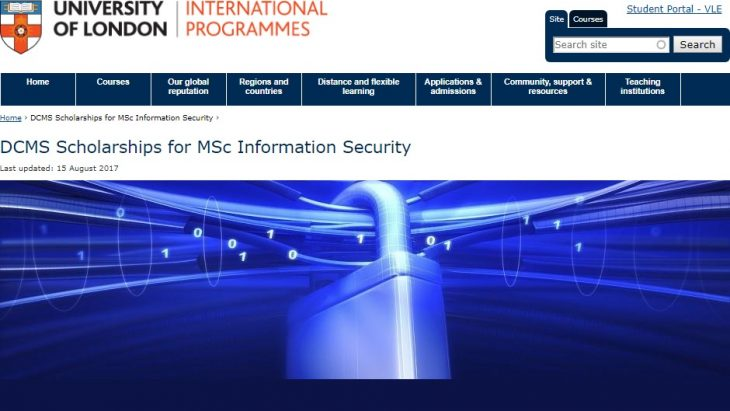 The University of London DCMS Scholarships for MSc Information Security