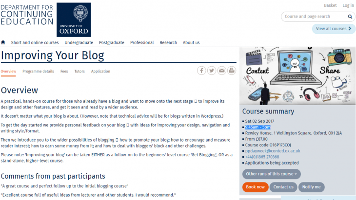 University of Oxford Course on Improving Your Blog