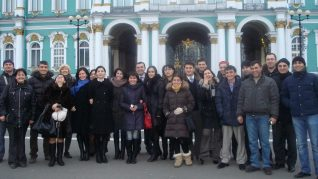 Aga Khan Foundation International Scholarship Programme alumni during a visit to Hermitage Museum in Saint Petersburg, Russia